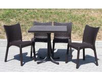 Rattan kertibútor garnitúra 4 székkel és egy asztallal barna szinben