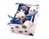 Karácsonyi gömbdísz kék-fehér, 6 darab