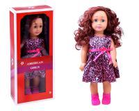 45 cm-es hosszú göndör, vörös hajú baba rózsaszín alapon párducmintás ruhácskában