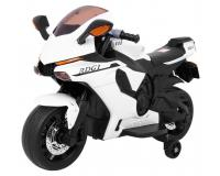 R1 Superbike elektromos gyerek fehér-fekete motorbicikli - 2 kiskerekü