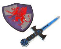 Pajzs + kard Vörös sárkánnyal