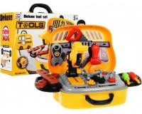 Játék jármű bőrönd szerszámokkal - sárga színű