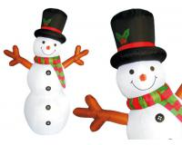 Felfújható hóember 180 cm, piros-zöld sállal, karácsonyi dekoráció.